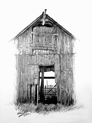 Old Barn Drawing Drawing - Hide Out by William Kelsey