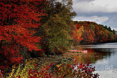 Photograph - Hideaway - New England Fall Landscape Boat Lake by Jon Holiday