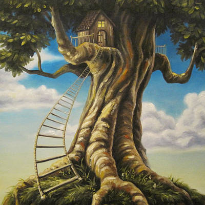 Treehouse Painting - Hideaway by Dixie Rogers