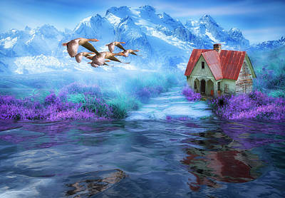 Digital Art - Hideaway In The Mountains by Diane Schuster