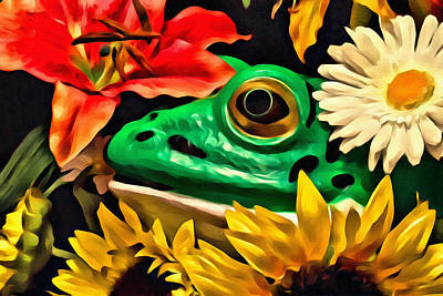 Macro Digital Art - Hiding Frog by Jeff  Gettis