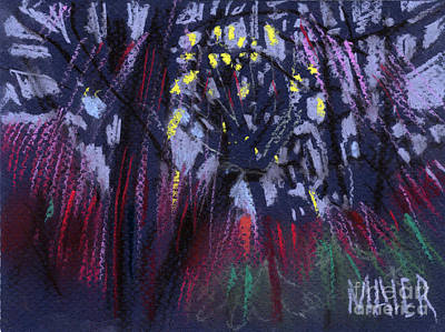 Tree Abstracts Drawing - Hiding From The Ufo by Donald Maier