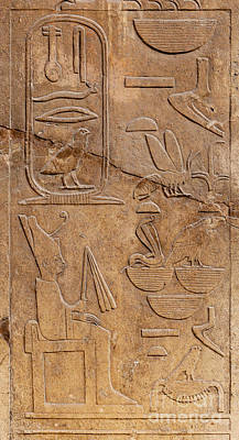 Hieroglyphs On Ancient Carving Art Print