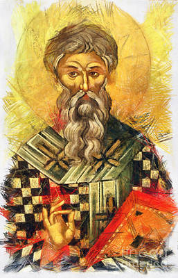 Drawing - Hieromartyr Cyprian The Bishop Of Carthage by Daliana Pacuraru