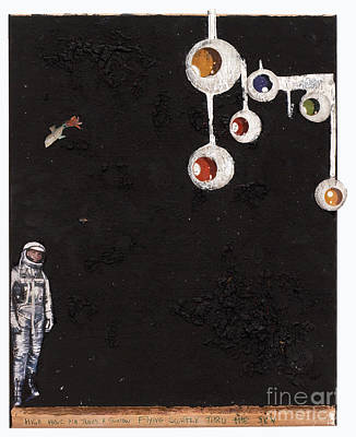 Astronauts Mixed Media - High Above Him There by Jaime  Becker