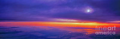 Photograph - high airliner clouds   sunrise east florida coast Atlantic ocean by Tom Jelen