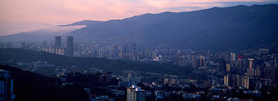 Crowd Scene Photograph - High Angle View Of A City, Caracas by Panoramic Images