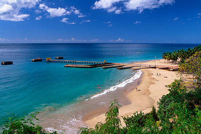 High Angle View Of A Pier On Crashboat Beach Puerto Rico. Art Print by George Oze