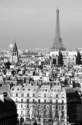 Photograph - High Angle View Of Paris France Rooftops With Les Invalides And Eiffel Tower Black And White by Shawn O'Brien