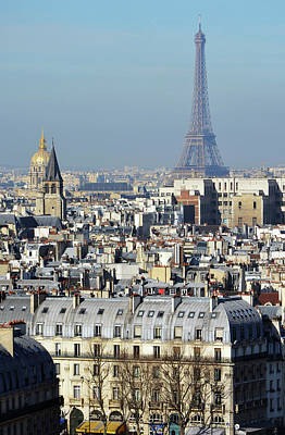 Photograph - High Angle View Of Paris France Rooftops With Les Invalides And Eiffel Tower by Shawn O'Brien