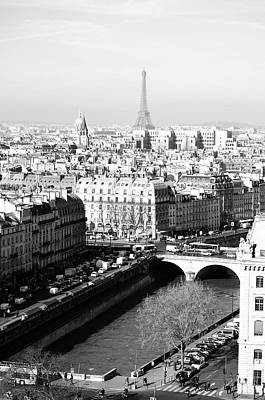 Photograph - High Angle View Of Paris France With River Seine Les Invalides And Eiffel Tower Black And White by Shawn O'Brien
