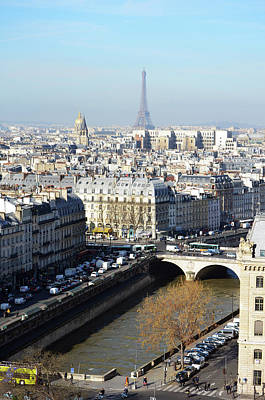 Photograph - High Angle View Of Paris France With River Seine Les Invalides And Eiffel Tower by Shawn O'Brien
