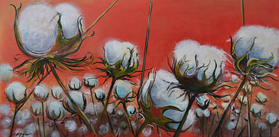 Cotton Fields Painting - High Cotton In Reds by Nancy Hilliard Joyce