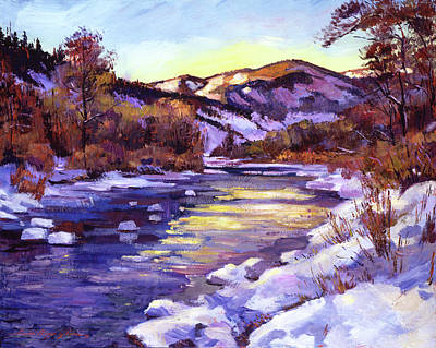 Painting - High Country River In Winter by David Lloyd Glover