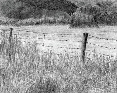 Fence Drawing - High Desert Hay Field by David King