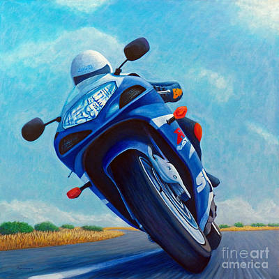 Motorcycle Painting - High Desert Pass - Suzuki Gsxr1000 by Brian  Commerford