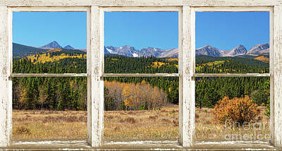 Photograph - High Elevation Rocky Mountain Peaks White Rustic Panorama Window by James BO Insogna