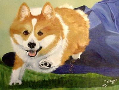 Herding Dog Painting - High Five Teddy by Debbie LaFrance