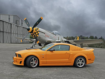 Photograph - High Flyers - Mustang And P51 by Gill Billington
