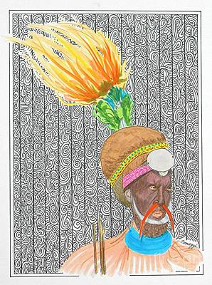 Indigenous Culture Drawing - High Hat -- Portrait Of African Chieftain by Jayne Somogy