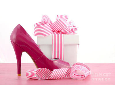 High Heel Shoe And Gift Art Print by Milleflore Images