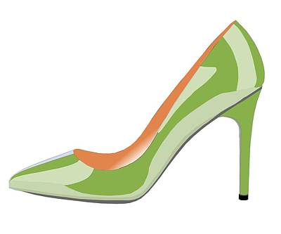 Shoe Digital Art - High Heel Shoe In Greenery by David Smith