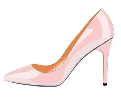 Shoe Digital Art - High Heel Shoe In Rose Quartz by David Smith