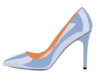 Shoe Digital Art - High Heel Shoe In Serenity Blue by David Smith