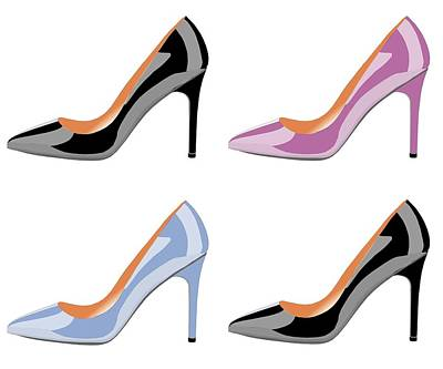 Shoe Digital Art - High Heel Shoes In Black,serenity Blue And Bodacious Pink by David Smith