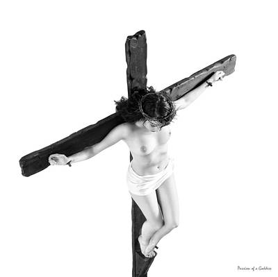 High Key Female Crucifix Art Print