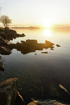 Photograph - High Key Sunrise - Calm And Crystal Clear On The Shore Of Lake Ontario In Toronto by Georgia Mizuleva