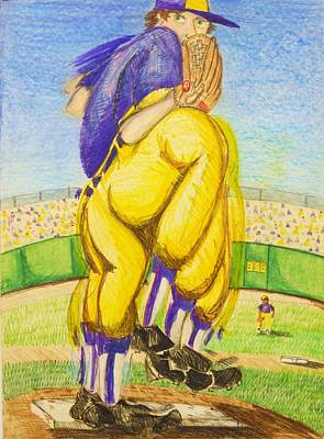 Softball Drawing - High Leg Kick by Jame Hayes