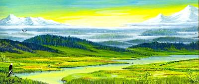 Washington State Skagit County Painting - High Meadow Valley Fog by Bob Patterson