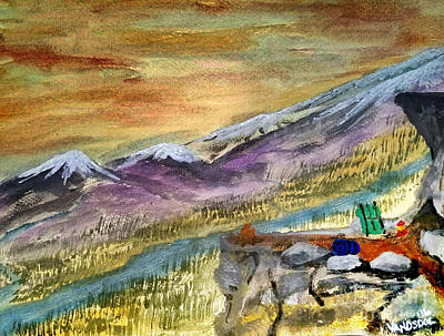 High Mountain Camping - Enhanced Coloring Art Print