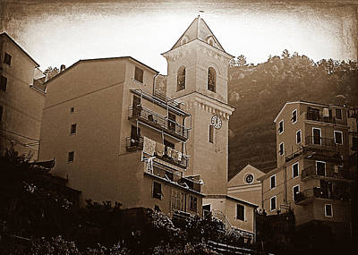 Photograph - High Noon, Manarola - Sepia by Susan Lafleur