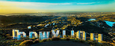 Panoramic Photograph - High On Hollywood by Az Jackson