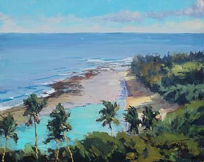Hanalei Painting - High Over Ke'e Beach by Pierre Bouret