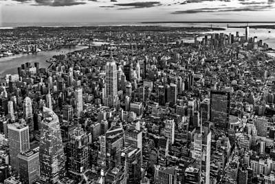 New York City Skyline Photograph - High Over Manhattan Bw by Susan Candelario