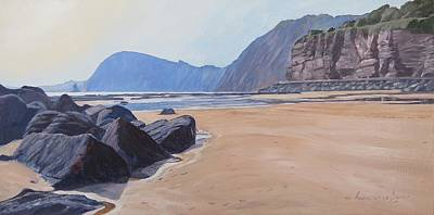 Art Print featuring the painting High Peak Cliff Sidmouth by Lawrence Dyer
