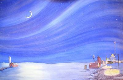 Small Town Painting - High Plains Nightscape by Scott Kirby