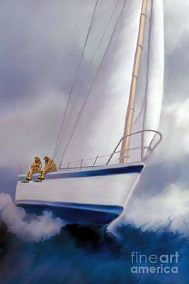 Speed Boat Painting - High Roller Sailing by Corey Ford