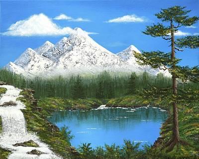 Wet-on-wet-technique Painting - High Sierras Lake by Larysa Kalynovska