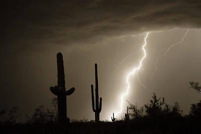 Storms Photograph - High Southwest Desert Lightning Strike by James BO  Insogna