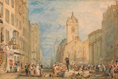 Streetscape Painting - High Street, Edinburgh by JMW Turner