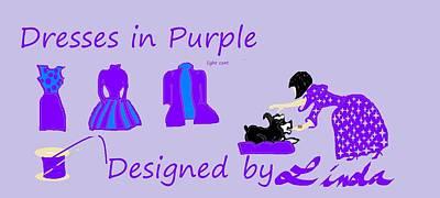 High Style Fashion, Dresses In Purple Art Print by Linda Velasquez