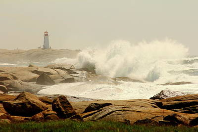 Photograph - High Surf After A Hurricane Crashing On The Rocks At Peggy's Cove, Nova Scotia, Canada by Gary Corbett