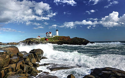 High Surf At Nubble Light Art Print