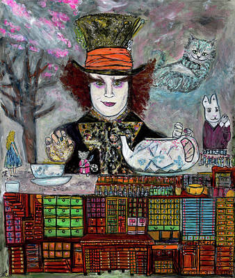 Mad Hatter Painting - High Tea With Friends by Lindsay Strubbe