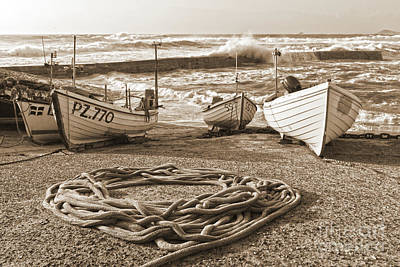 Photograph - High Tide In Sennen Cove Sepia by Terri Waters