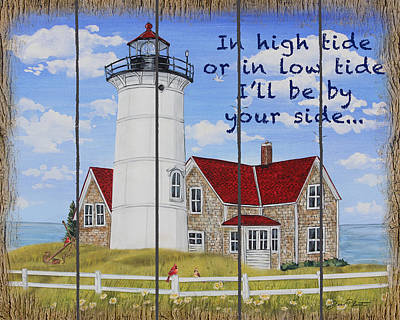 Painting - High Tide Lighthouse-a by Jean Plout